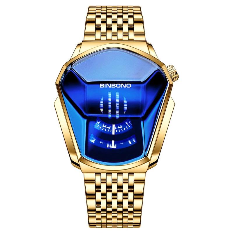 ファッションクール機関車メンズ腕時計トップブランドの高級クォーツゴールド腕時計男性防水幾何学的形状レロジオmasculino_画像5
