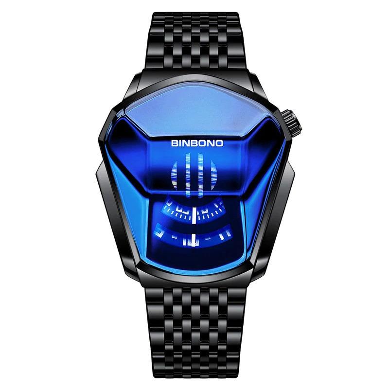 ファッションクール機関車メンズ腕時計トップブランドの高級クォーツゴールド腕時計男性防水幾何学的形状レロジオmasculino_画像7