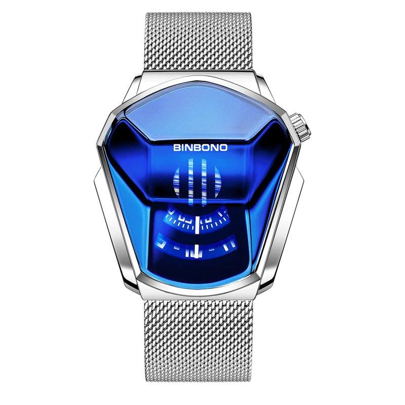 ファッションクール機関車メンズ腕時計トップブランドの高級クォーツゴールド腕時計男性防水幾何学的形状レロジオmasculino_画像9