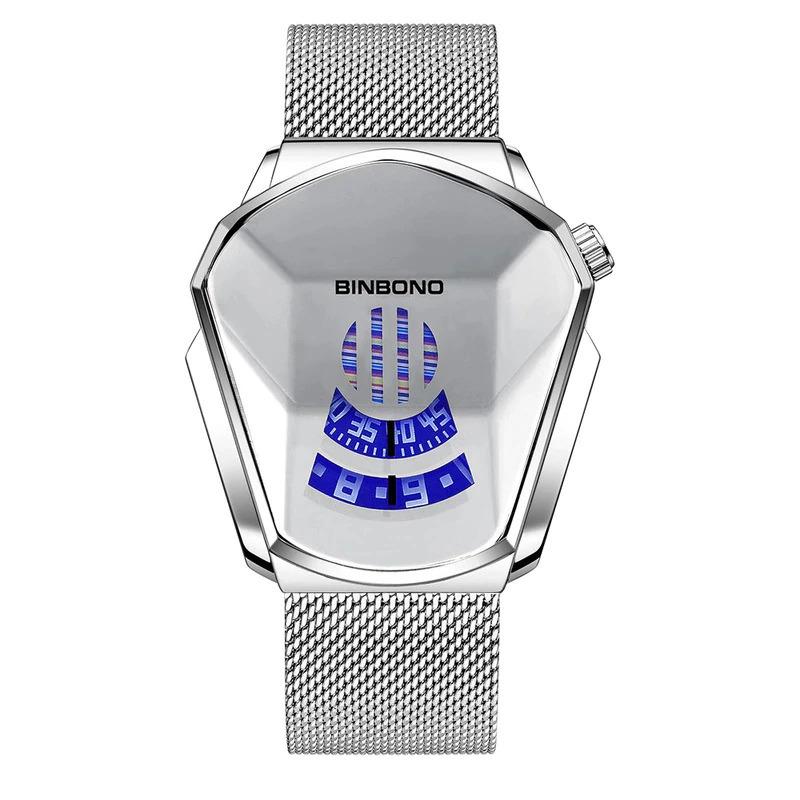 ファッションクール機関車メンズ腕時計トップブランドの高級クォーツゴールド腕時計男性防水幾何学的形状レロジオmasculino_画像8