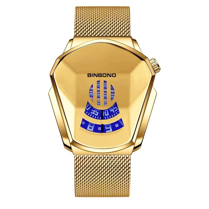 ファッションクール機関車メンズ腕時計トップブランドの高級クォーツゴールド腕時計男性防水幾何学的形状レロジオmasculino_画像10