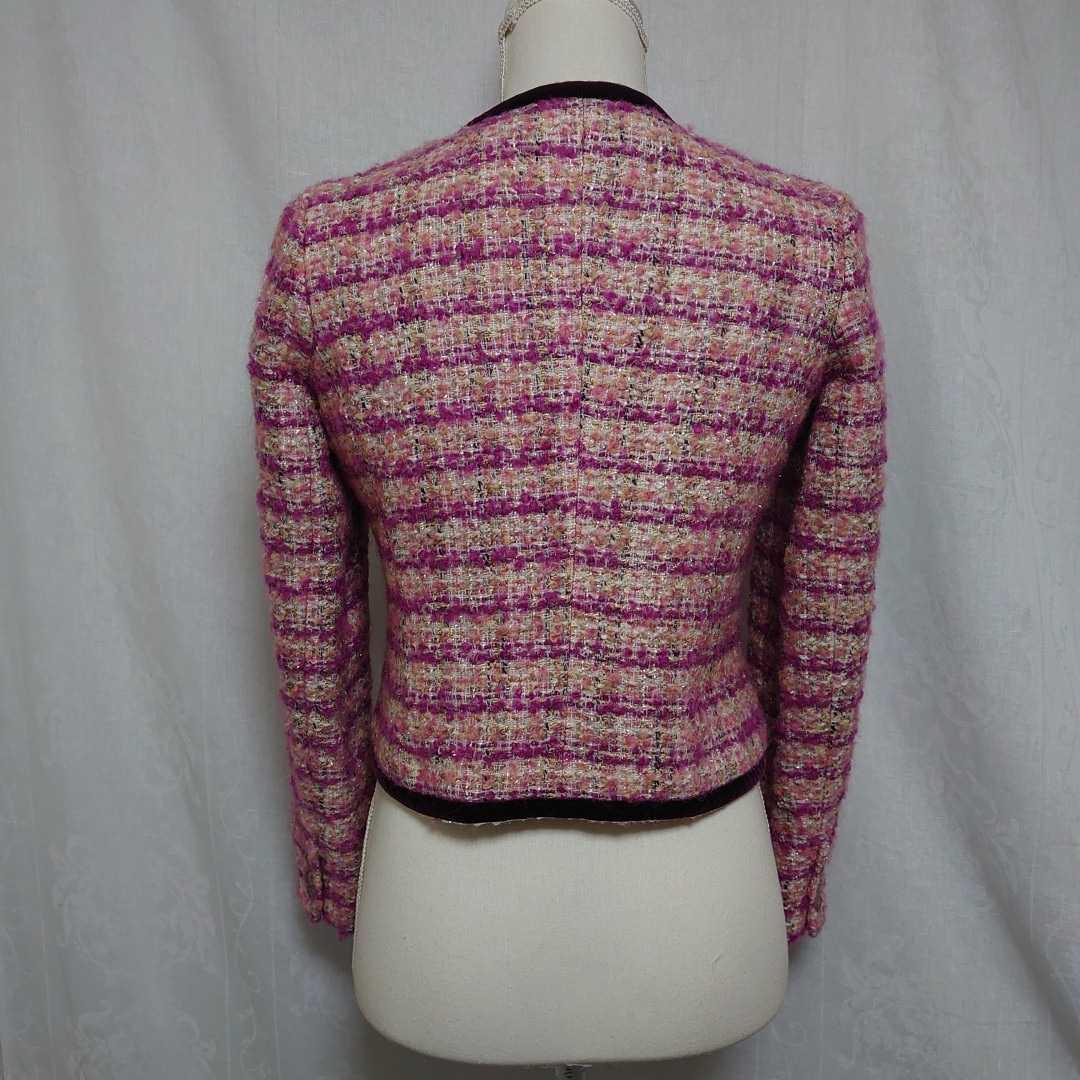 美品 プラステ ピンクのモヘアツイードが可愛い長袖ノーカラージャケット サイズ0、7号、Sサイズ PLST 秋物 冬物 卒業式 入学式_画像4