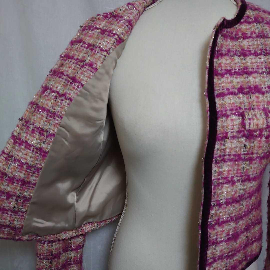 美品 プラステ ピンクのモヘアツイードが可愛い長袖ノーカラージャケット サイズ0、7号、Sサイズ PLST 秋物 冬物 卒業式 入学式_画像3