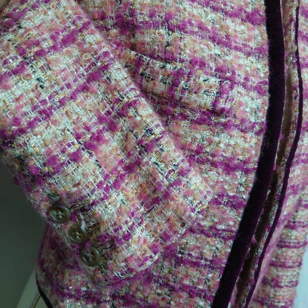 美品 プラステ ピンクのモヘアツイードが可愛い長袖ノーカラージャケット サイズ0、7号、Sサイズ PLST 秋物 冬物 卒業式 入学式_画像2