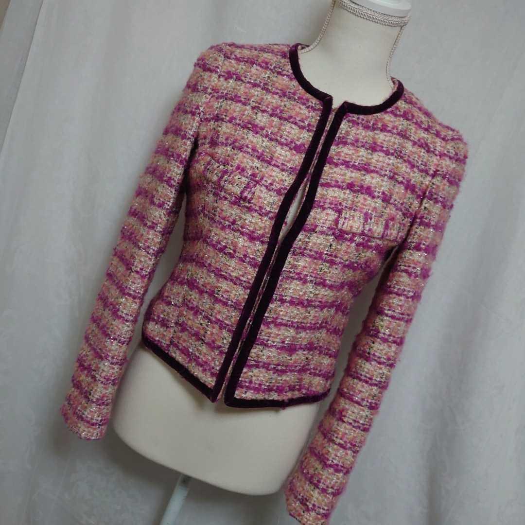 美品 プラステ ピンクのモヘアツイードが可愛い長袖ノーカラージャケット サイズ0、7号、Sサイズ PLST 秋物 冬物 卒業式 入学式_画像1