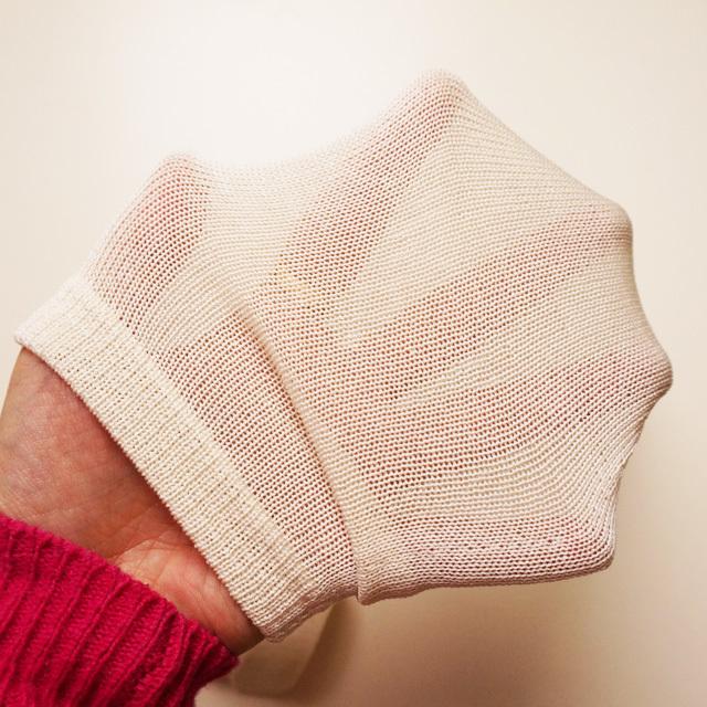 冷えとり靴下 重ね履き用 シルク 絹 先丸 10足セット 奈良県産 シルク100% かかとなしタイプ