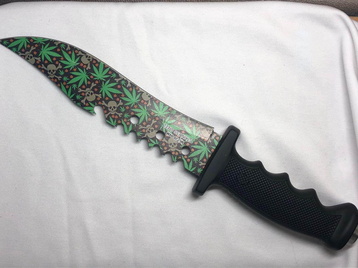 サバイバルナイフ 大型 マリファナ スカル