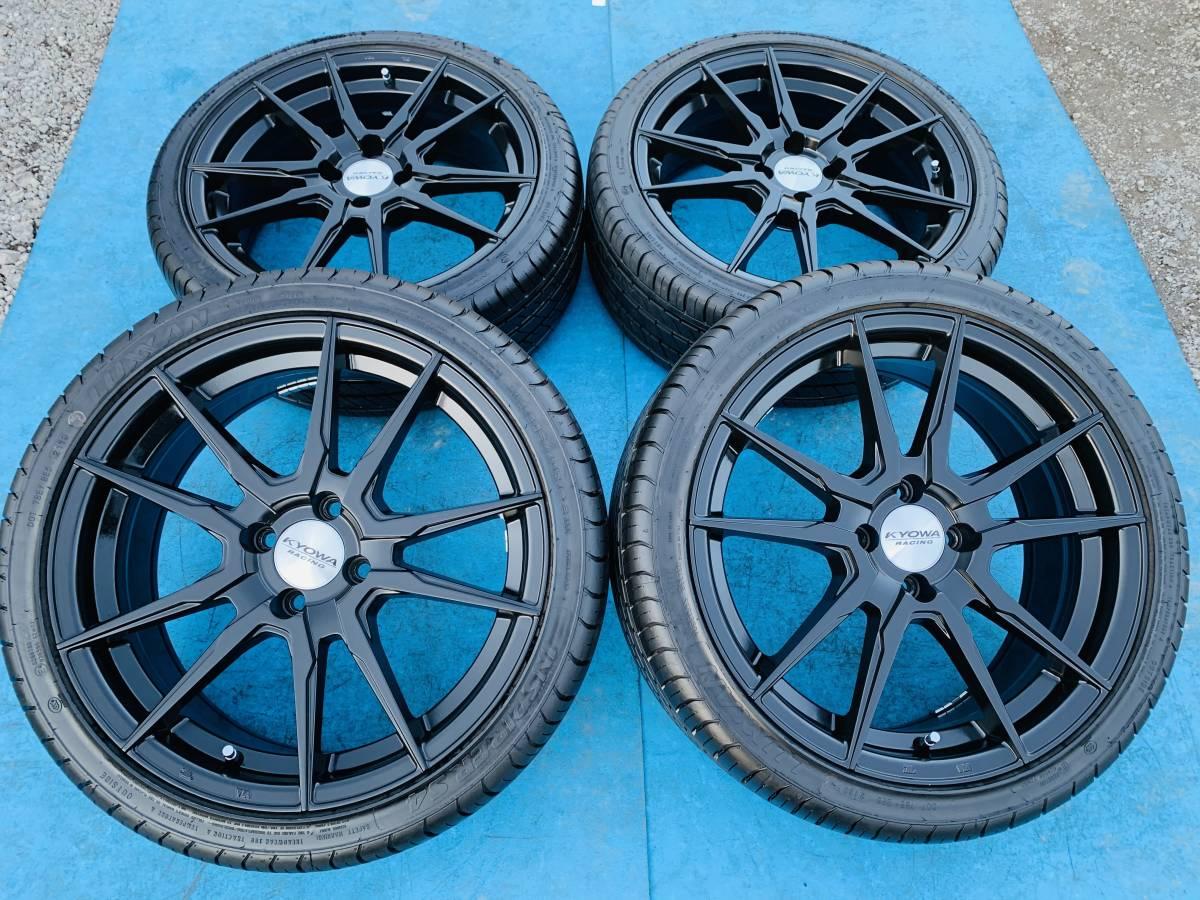中古ホイール付タイヤ 4本セット KYOWA RACING 17×7J 205/40/17 LUXXAN 2019年製 PCD100 タイヤの状態良い