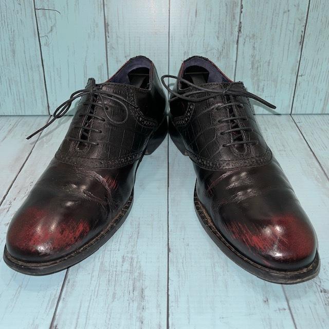 【即決/送料無料】COLE HAAN コール・ハーン プレーントゥ US7 25cm クロコ型押し 黒 ブラック 革靴_画像1
