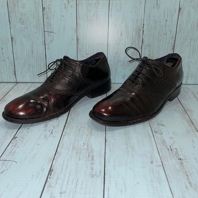 【即決/送料無料】COLE HAAN コール・ハーン プレーントゥ US7 25cm クロコ型押し 黒 ブラック 革靴_画像2