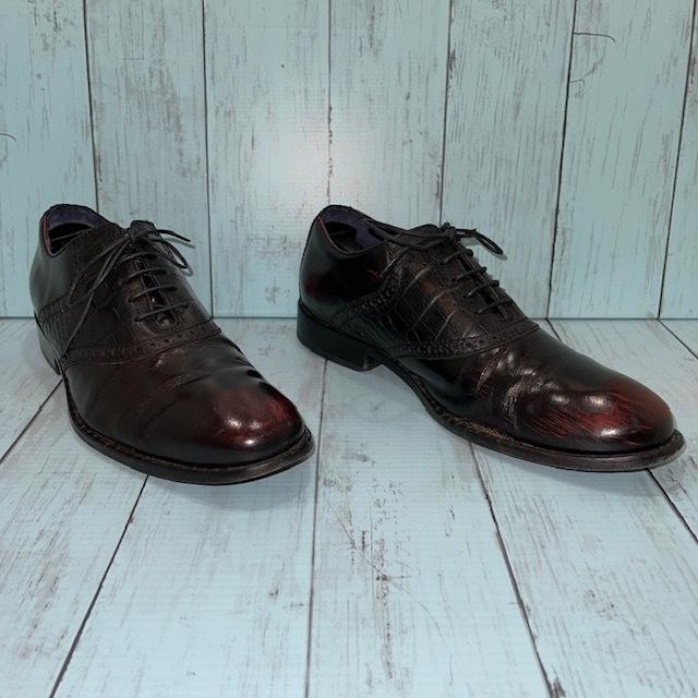 【即決/送料無料】COLE HAAN コール・ハーン プレーントゥ US7 25cm クロコ型押し 黒 ブラック 革靴_画像3