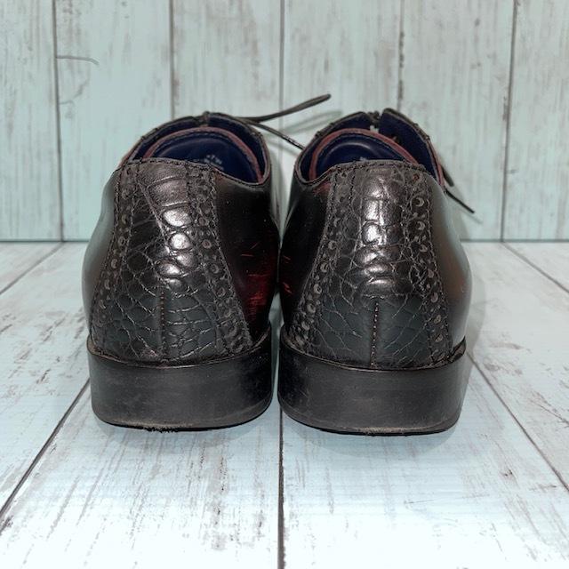 【即決/送料無料】COLE HAAN コール・ハーン プレーントゥ US7 25cm クロコ型押し 黒 ブラック 革靴_画像4