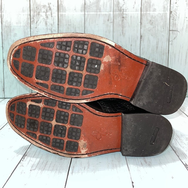 【即決/送料無料】COLE HAAN コール・ハーン プレーントゥ US7 25cm クロコ型押し 黒 ブラック 革靴_画像5