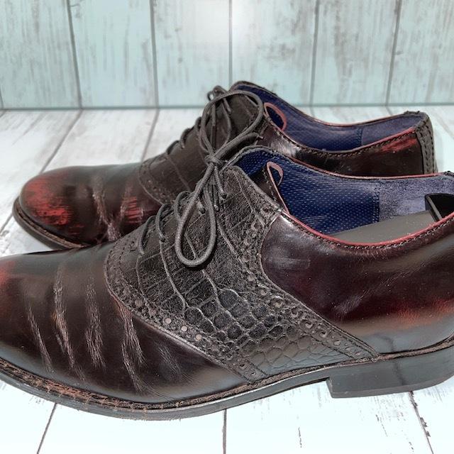 【即決/送料無料】COLE HAAN コール・ハーン プレーントゥ US7 25cm クロコ型押し 黒 ブラック 革靴_画像6