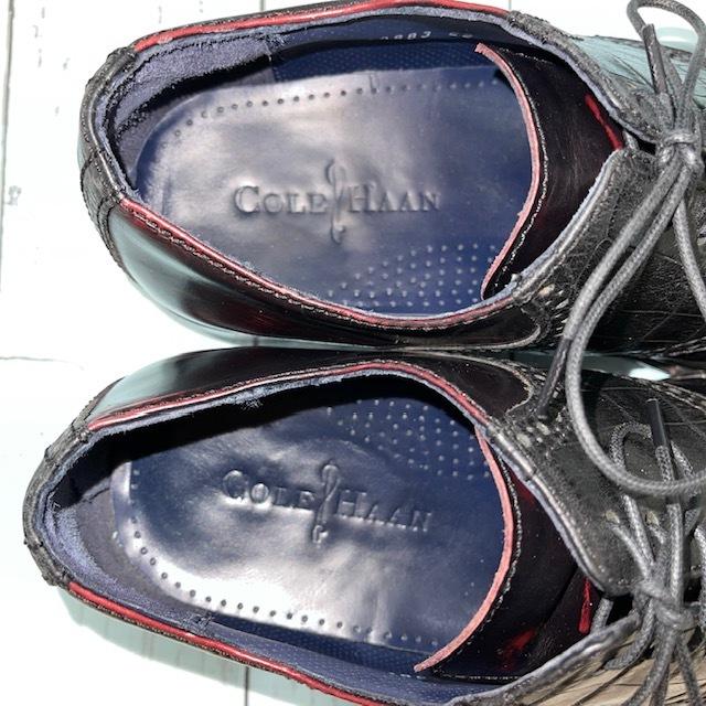 【即決/送料無料】COLE HAAN コール・ハーン プレーントゥ US7 25cm クロコ型押し 黒 ブラック 革靴_画像7