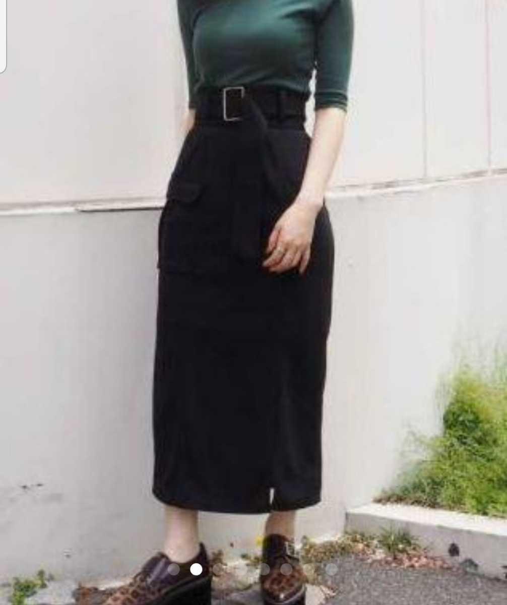 美品 ムルーア ロングスカート 黒 スリット入り 送料198円_画像2