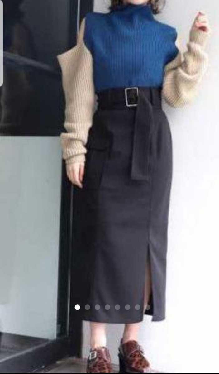 美品 ムルーア ロングスカート 黒 スリット入り 送料198円_画像3
