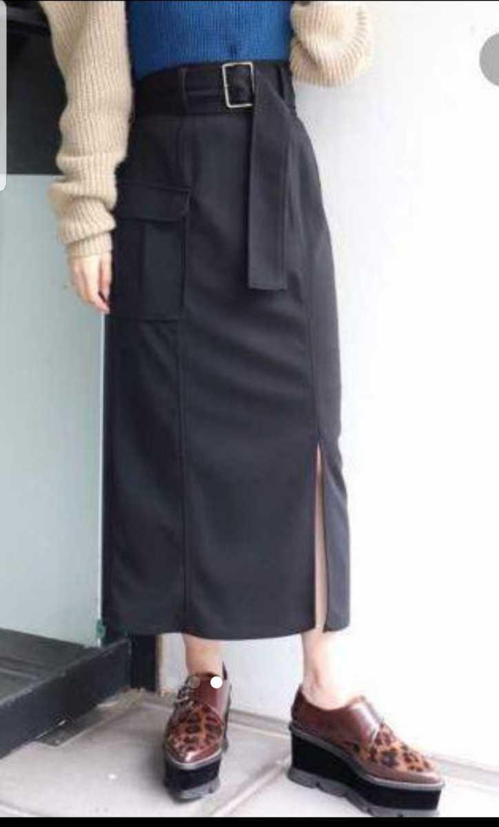 美品 ムルーア ロングスカート 黒 スリット入り 送料198円_画像1