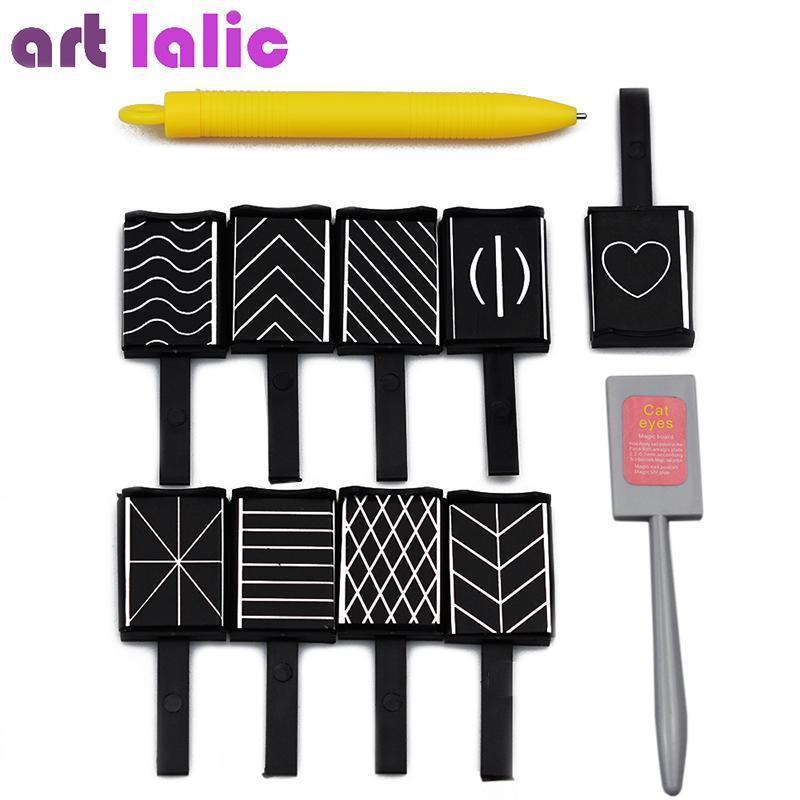 11ピースセット3Dマグネットスティックcat eye磁気ペンのための描画ネイルアートスティックネイルジェルポリッシュ魔法ネイルツールS2690_画像1