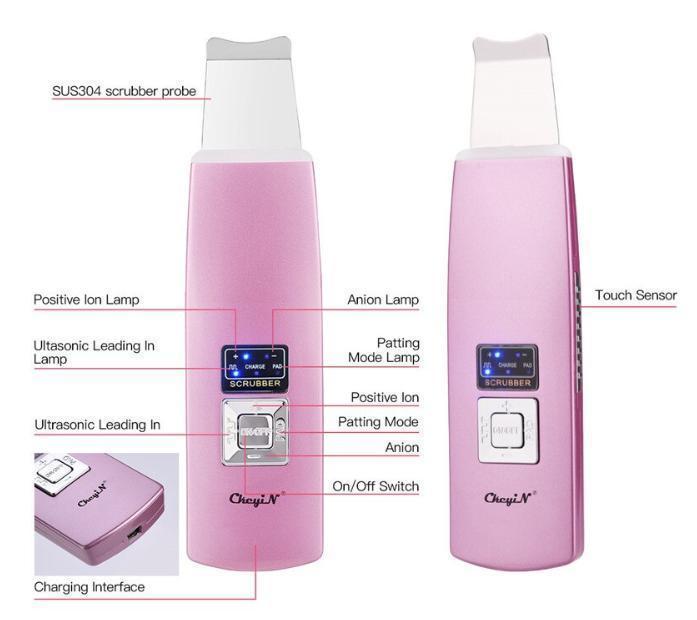 超音波美顔器 ウォーターピーリング 毛穴洗浄 パッティング ピーリング ニキビ 角栓 角質 たるみ 皮脂 ピンク_画像9