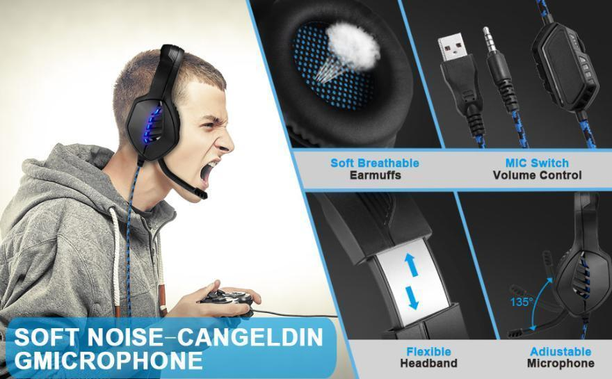 ゲーミングヘッドセット ブラック 3.5mmオーディオケーブル USB接続 PC/ゲーム機 マイク 会話 チャット_画像10