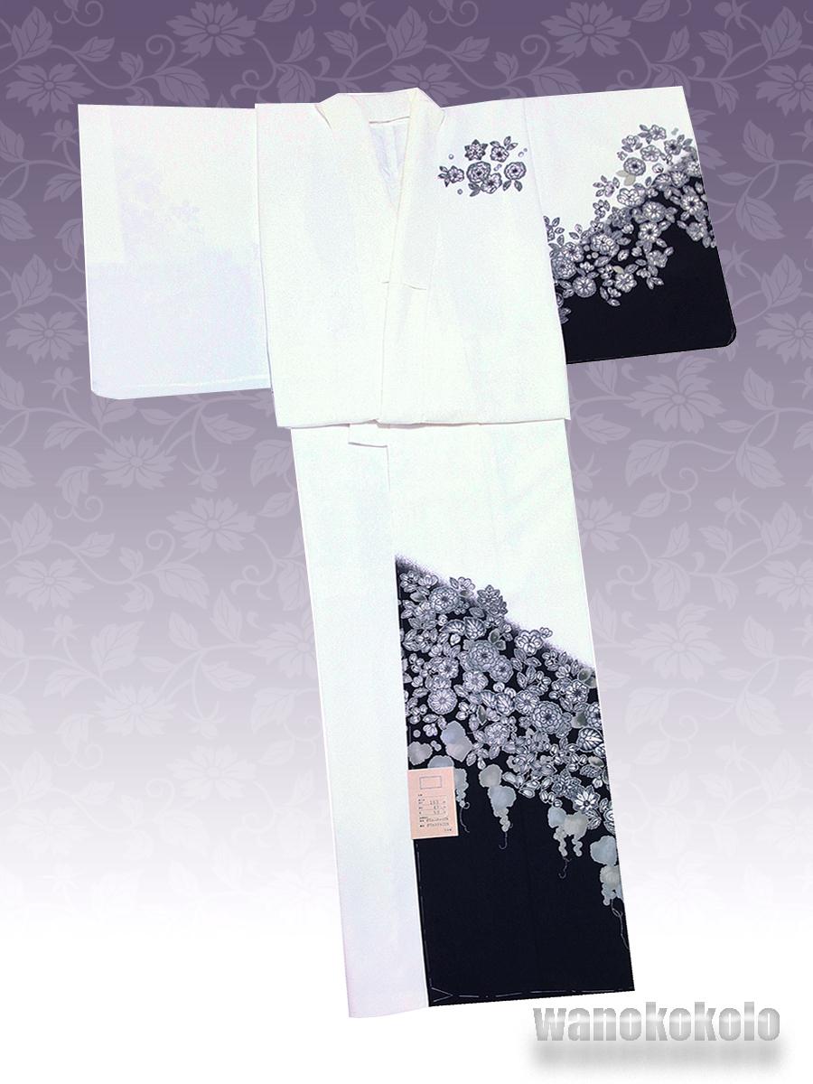 【和の志】洗える着物◇袷・付下げ◇Fサイズ◇白系/辻が花柄◇KTK_163_画像2