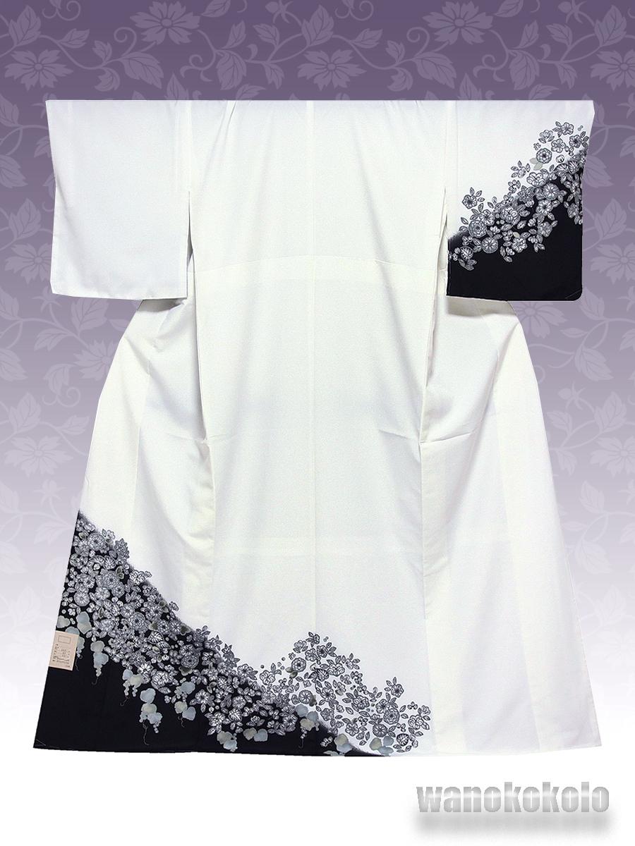 【和の志】洗える着物◇袷・付下げ◇Fサイズ◇白系/辻が花柄◇KTK_163_画像1