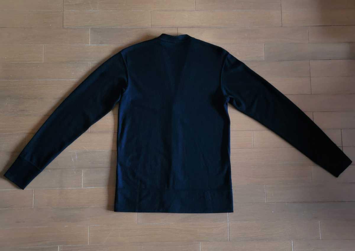 MADE IN JAPAN 日本製 カーディガン ストレッチ ウール100% 黒 L シンプルデザイン こだわりのボタン使用 eit-em h.mplannig_画像8