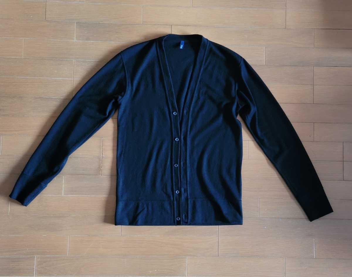 MADE IN JAPAN 日本製 カーディガン ストレッチ ウール100% 黒 L シンプルデザイン こだわりのボタン使用 eit-em h.mplannig_画像1