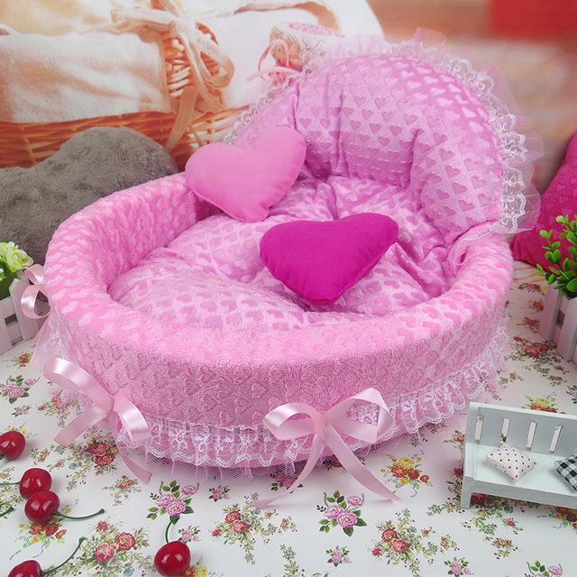 ◆1円スタート◆かわいい♪ペット ベッド 犬 猫 ピンク Mサイズ 小屋 マット 小型犬 ソファ 姫 レース インテリア 女の子 AT7515_画像1