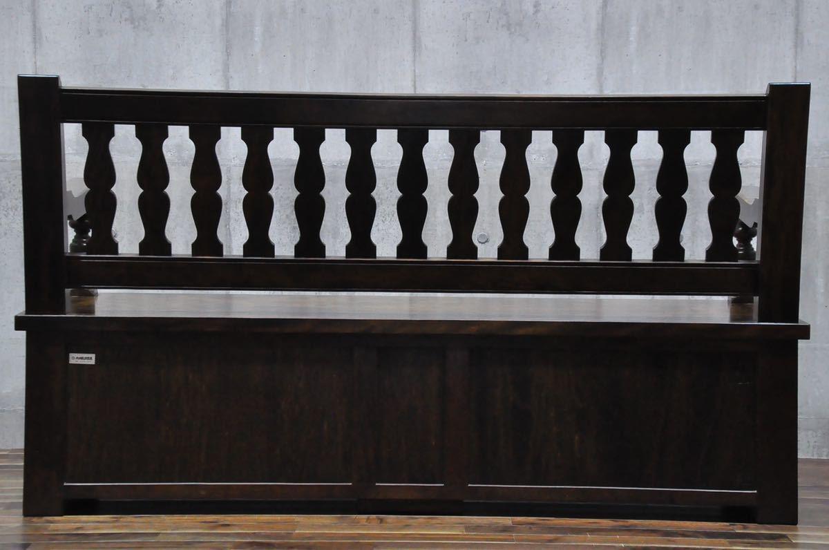 AC86 九州民芸家具 座面下収納 ベンチ 160cm 板座 長椅子 在銘 無垢材 収納付き 検) 松本民芸家具 北海道民芸家具 アンティーク 食卓椅子_画像9
