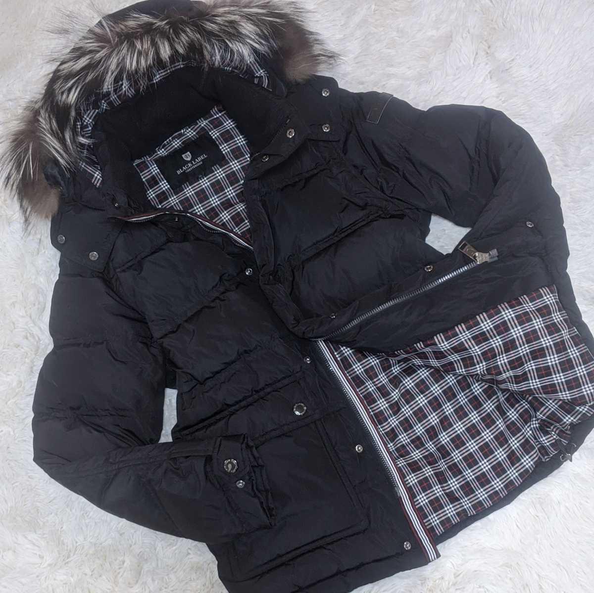 美品 ブラックレーベル クレストブリッジ 4way ダウンジャケット LLサイズ シルバーフォックスファー BLACK LABEL CRESTBRIDGE コート