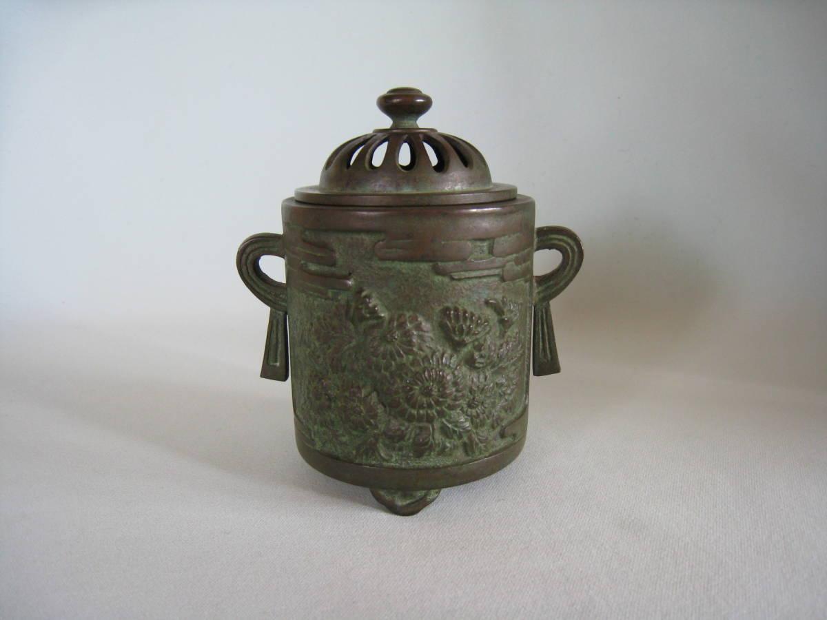 銅製  菊花文香炉_画像1