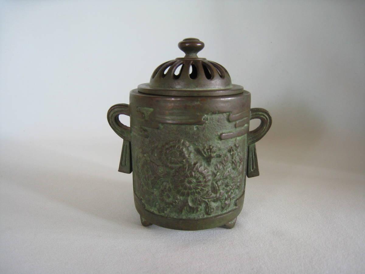 銅製  菊花文香炉_画像2