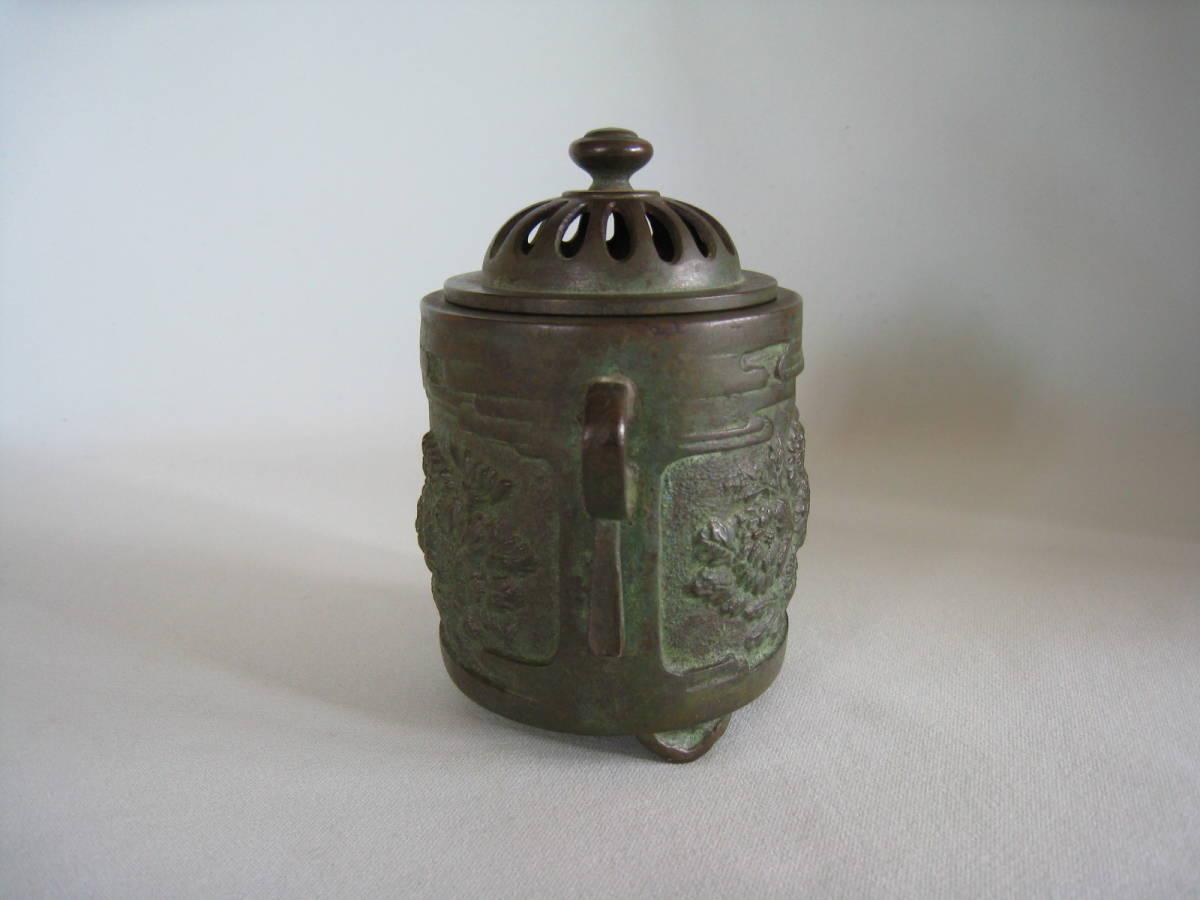 銅製  菊花文香炉_画像3
