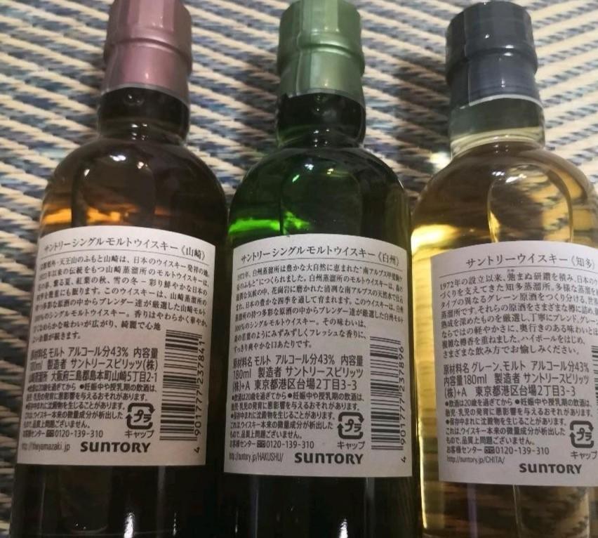山崎180ml、白州180ml、知多180mlミニボトルセット