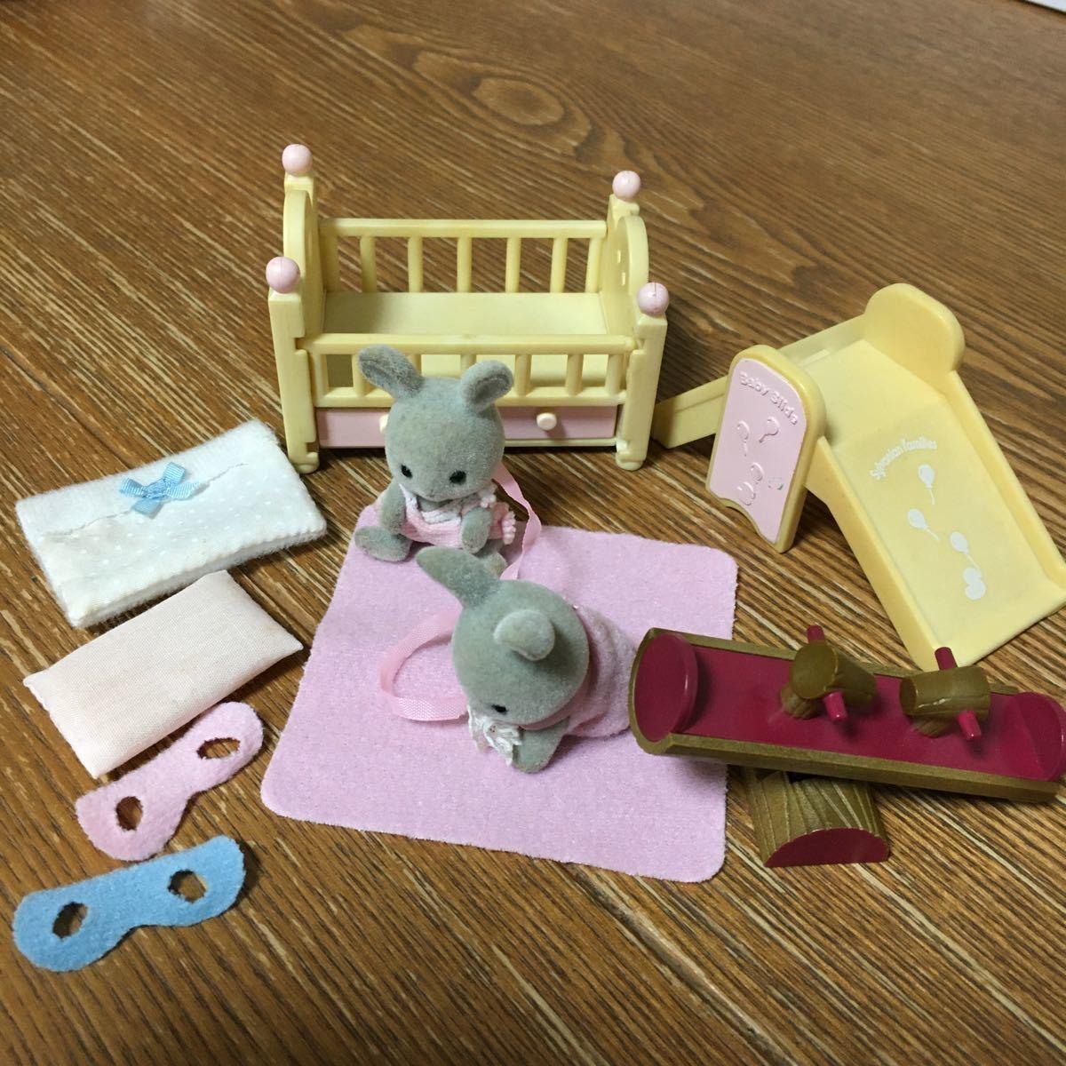 シルバニアファミリー ベビー家具セット 双子 赤ちゃん グレー_画像1