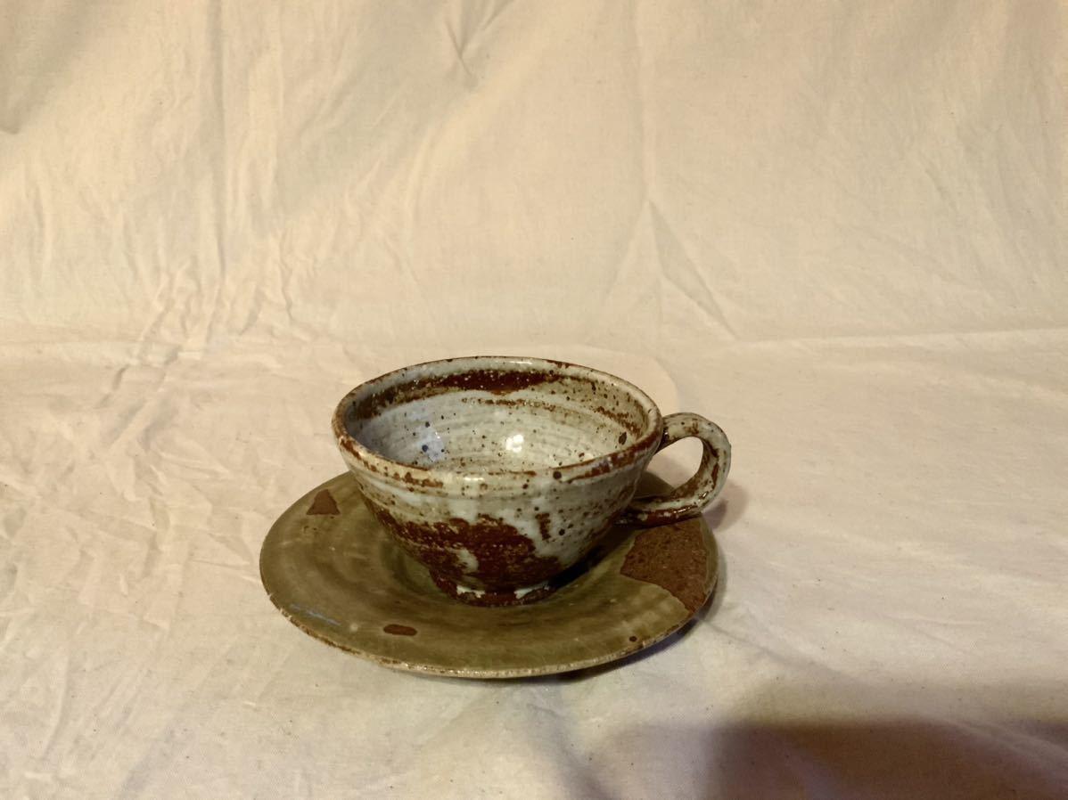 17 陶芸 陶器 黄瀬戸焼き カップ&ソーサー お茶 平皿 コーヒーカップ マグカップ オブジェ インテリア 手作りカップ&ソーサ_画像1