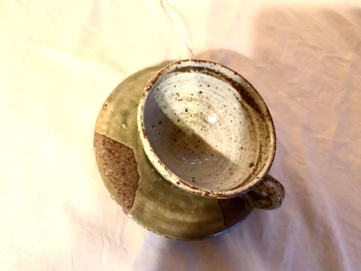 17 陶芸 陶器 黄瀬戸焼き カップ&ソーサー お茶 平皿 コーヒーカップ マグカップ オブジェ インテリア 手作りカップ&ソーサ_画像8