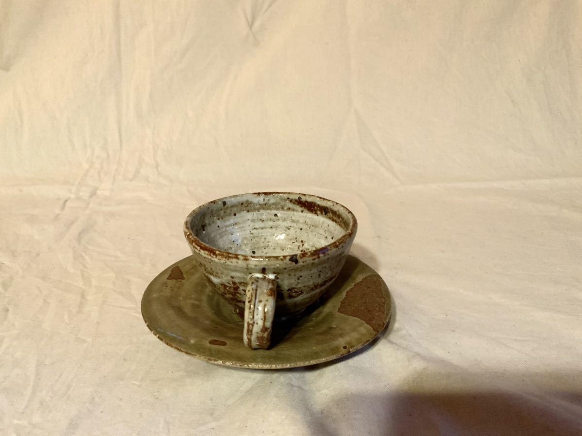 17 陶芸 陶器 黄瀬戸焼き カップ&ソーサー お茶 平皿 コーヒーカップ マグカップ オブジェ インテリア 手作りカップ&ソーサ_画像4