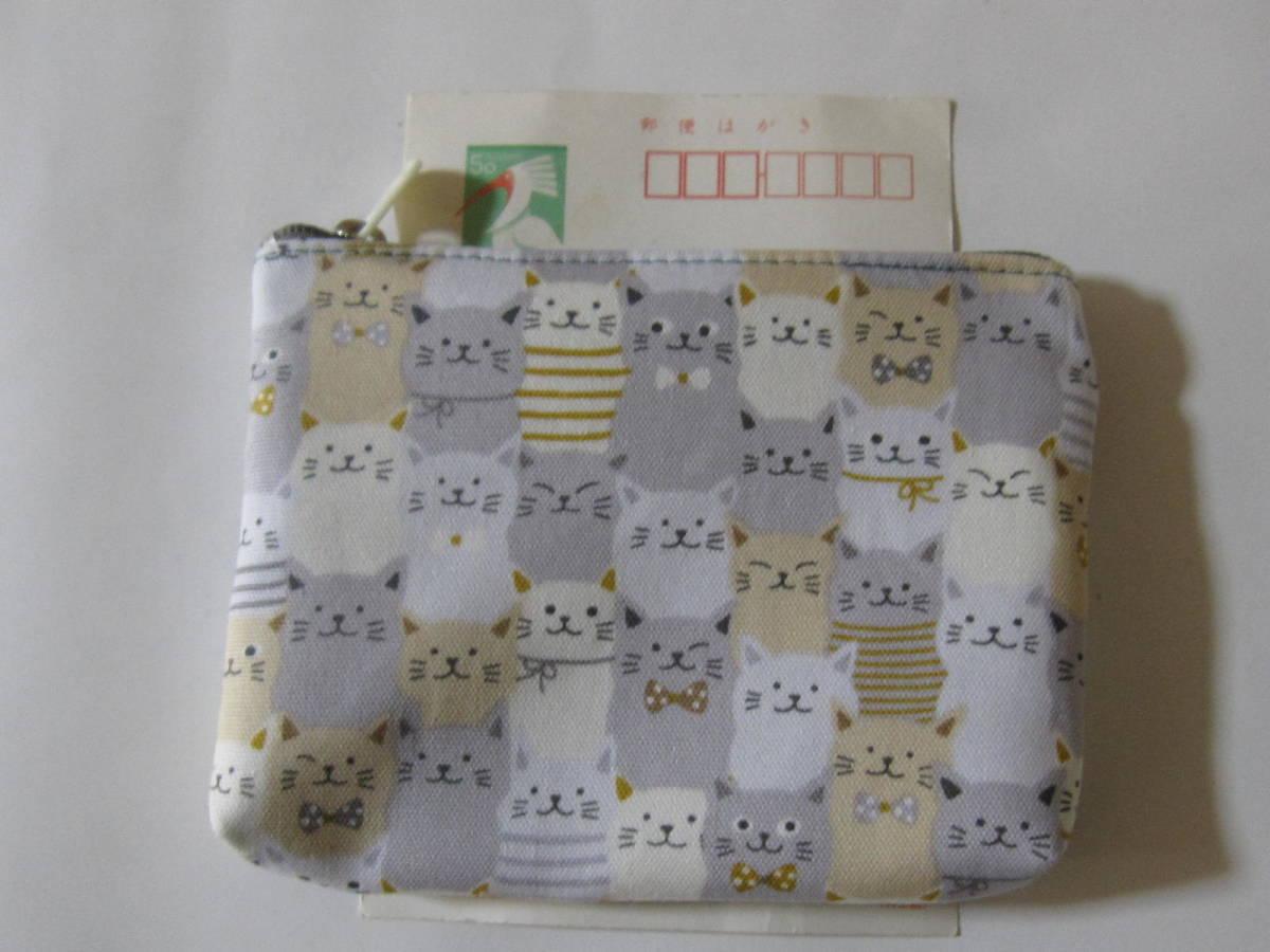 手作り 小物 ポーチ 一面に 猫 ライン リボン 模様 動物 ねこだらけ 柄 ネコ レトロ ハンドメイド オックス地 財布 充電器 可愛い グレー_画像1