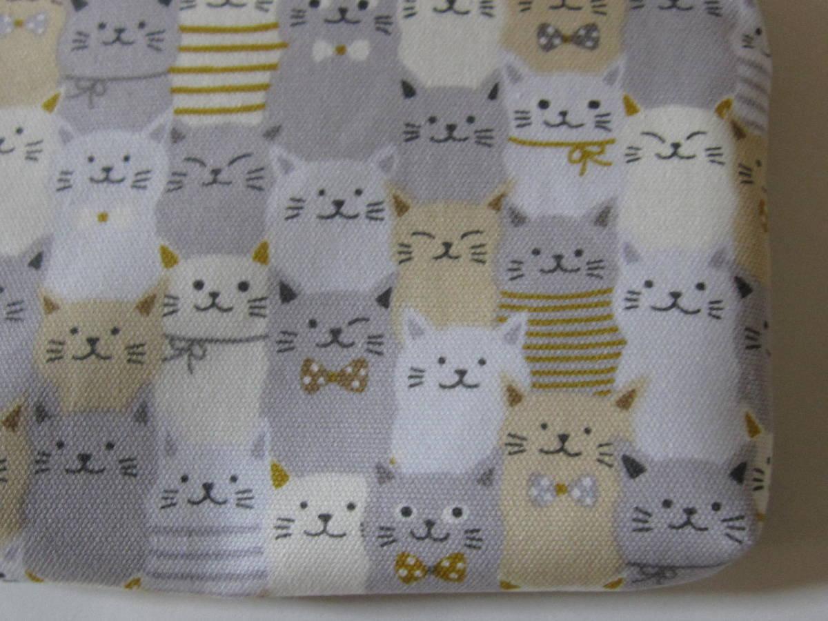 手作り 小物 ポーチ 一面に 猫 ライン リボン 模様 動物 ねこだらけ 柄 ネコ レトロ ハンドメイド オックス地 財布 充電器 可愛い グレー_画像4