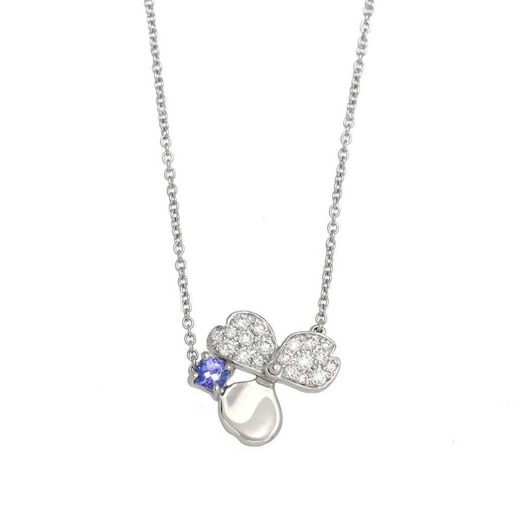 ティファニー ペーパーフラワー ネックレス Pt950 41cm プラチナ タンザナイト ダイヤモンド 花 フラワーモチーフ TIFFANY&Co. ダイヤ