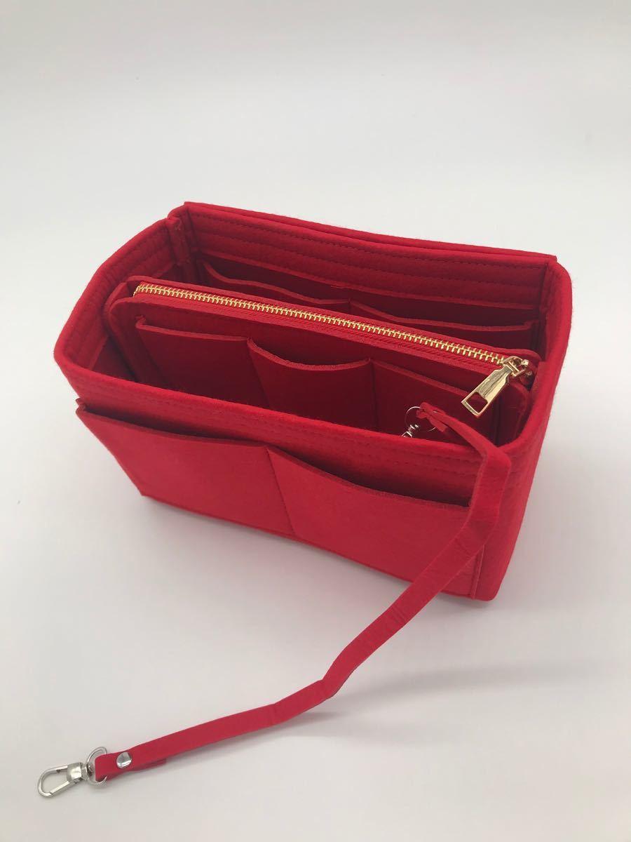 バックインバック フェルト 鞄 軽量 インナーバッグ レッド Mサイズ