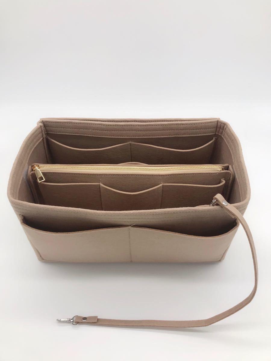 バックインバック フェルト 鞄 軽量 インナーバッグ ベージュ Lサイズ