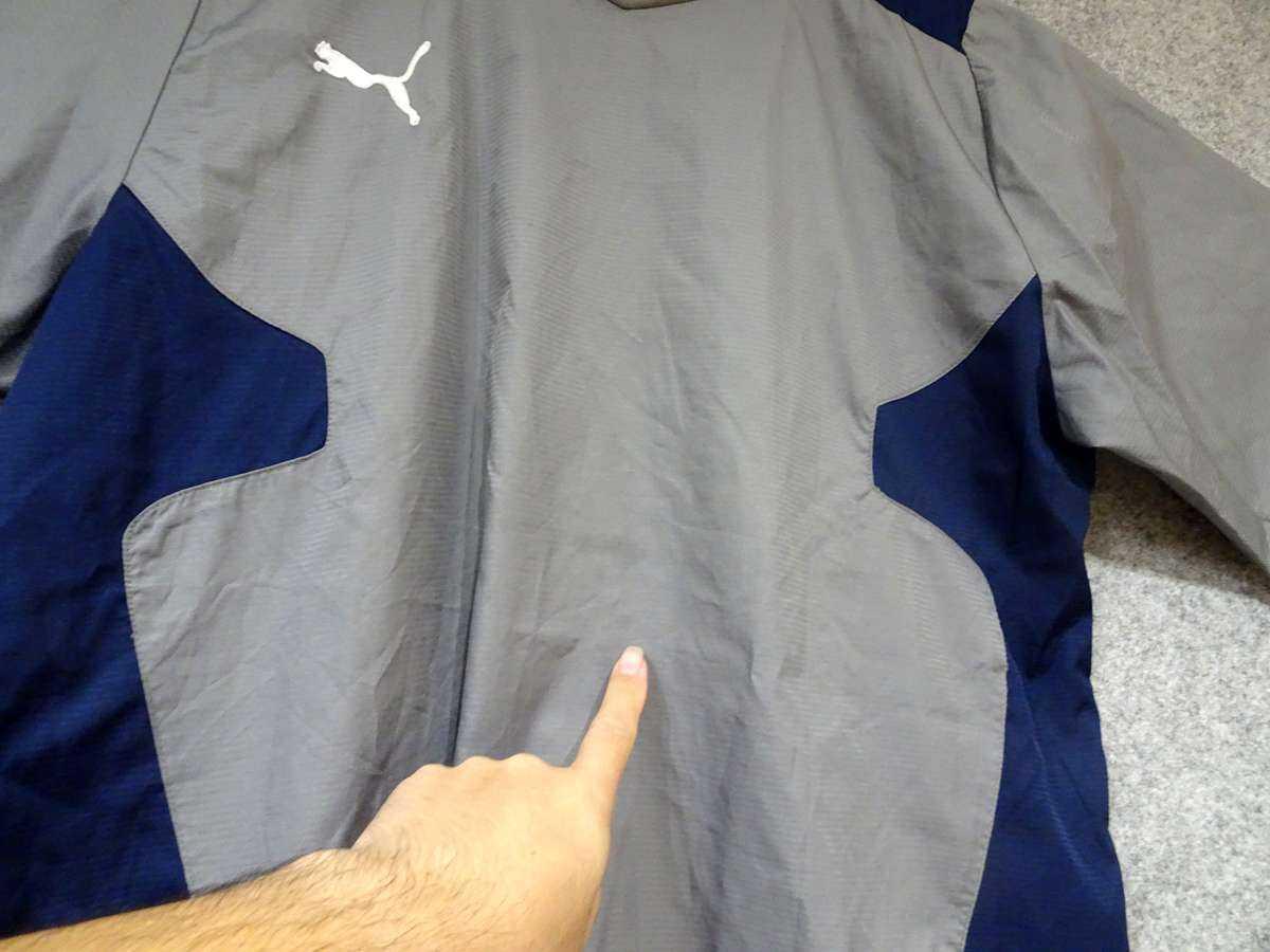 プーマ PUMA - サッカー フットサル USED傷あり 長袖 一枚生地ピステ 練習着 SIZE:XO カラー:グレー系 かっこいい!_画像5
