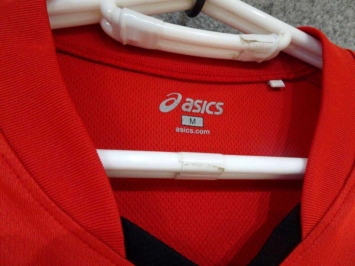 アシックス ASICS - サッカー ベガルタ仙台 USED 半袖 プラクティスシャツ 練習着 SIZE:M カラー:赤系 高機能高デザイン_画像4