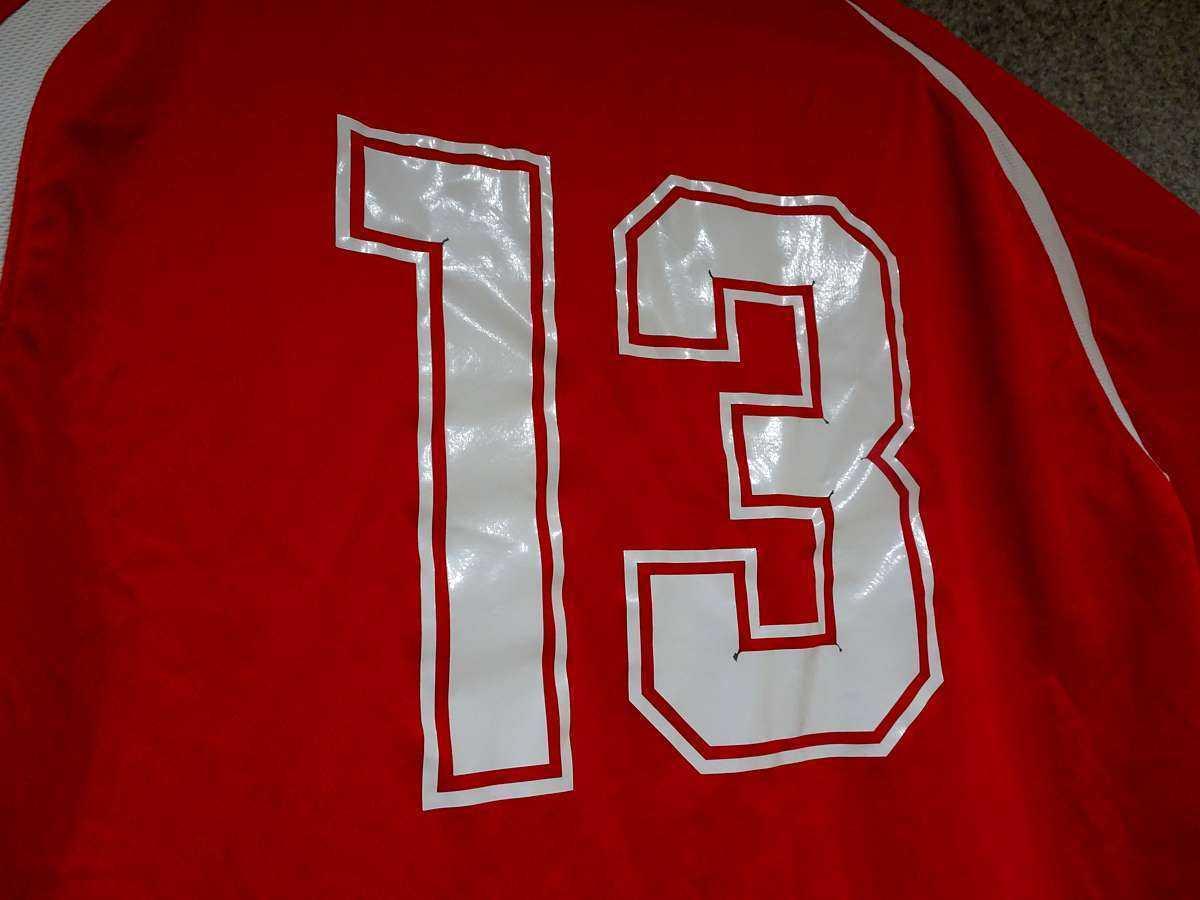 アシックス ASICS - サッカー ベガルタ仙台 USED 半袖 プラクティスシャツ 練習着 SIZE:M カラー:赤系 高機能高デザイン_画像6