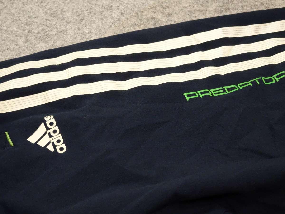 アディダス adidas PREDATOR サッカーフットサル USED傷あり ボトムス ウィンドブレーカー 一枚生地ピステ SIZE:L カラー:紺系 高デザイン_画像5
