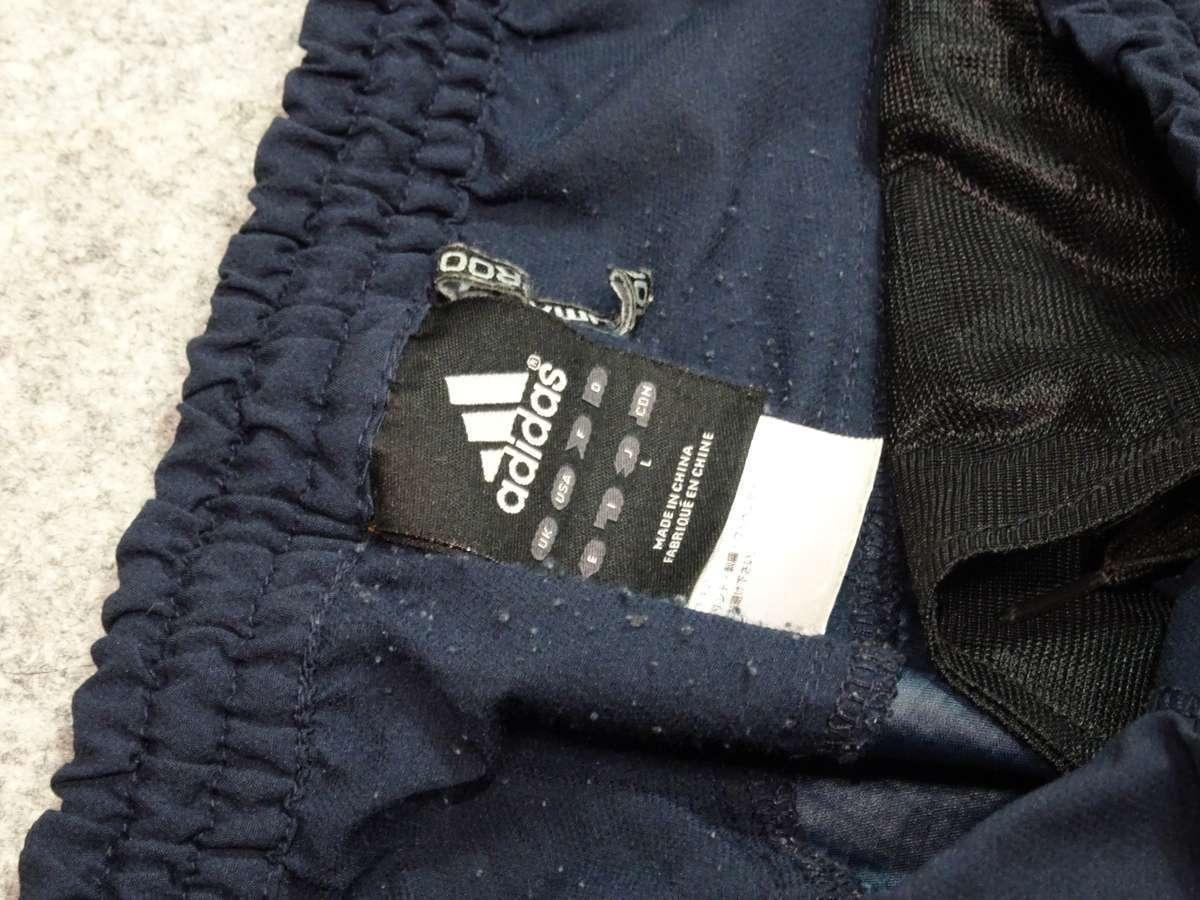 アディダス adidas PREDATOR サッカーフットサル USED傷あり ボトムス ウィンドブレーカー 一枚生地ピステ SIZE:L カラー:紺系 高デザイン_画像6